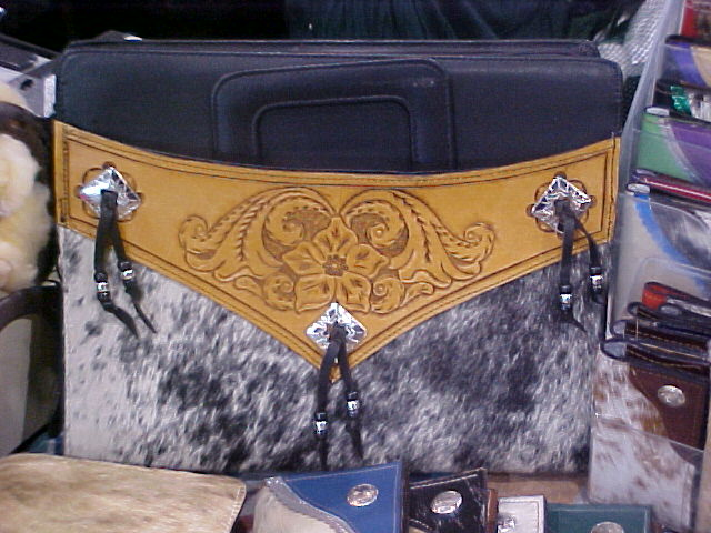 Custom Tooled Brief Case with Hair On