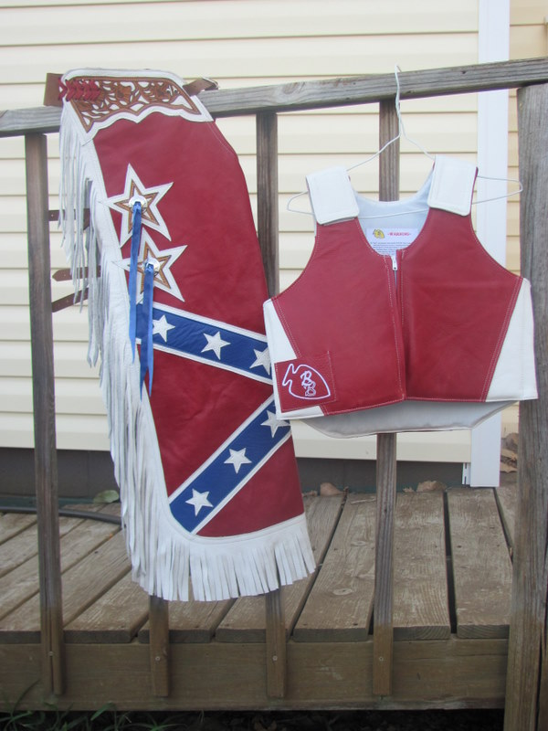 Jr BullRider Rebel Flag Chaps & Protective Vest Set